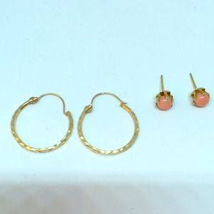 Jewelry - Two pairs of 14K Gold Earrings